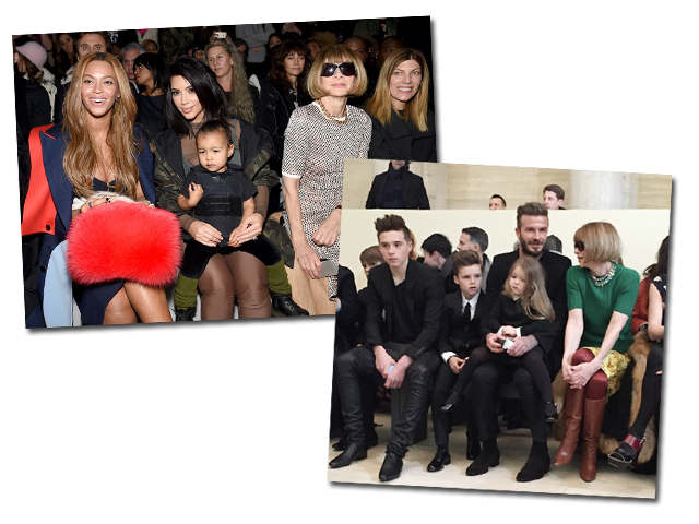 Anna Wintour com Kim Kardashian e North West e, neste domingo, ao lado da prole de Victoria Beckham || Crédito: Getty Images/Reprodução