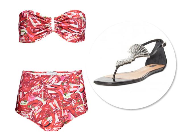 Hot pants Isolda, R$ 472, Oqvestir.com.br; Sandália R$ 245, Shop2Gether   Créditos: Divulgação