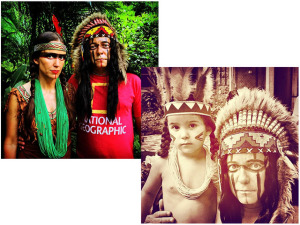 Vik Muniz e família brincam o Carnaval fantasiados de índios