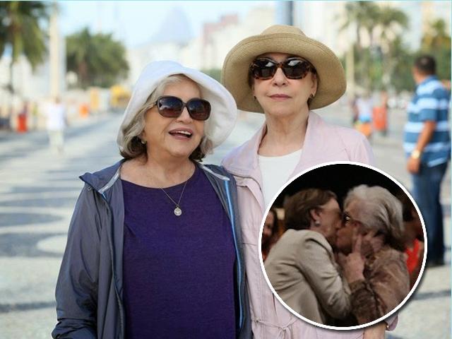 Fernanda Montenegro e Nathalia Thimberg. No detalhes, o beijo das atrizes na coletiva de Babilônia || Créditos: TV Globo / AgNews