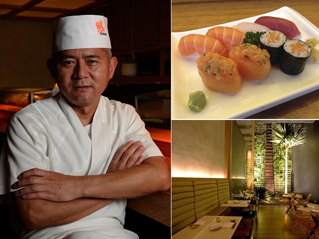 George Yuji Koshoji, chef e sócio-proprietário do Kosushi, ao lado de suas delícias e o espaço do restaurante || Créditos: Divulgação