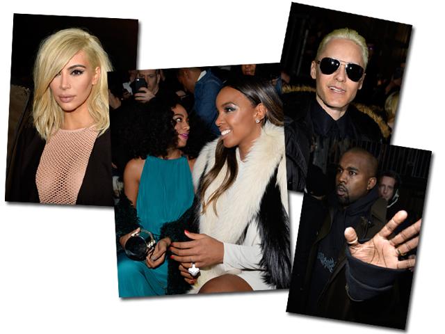 Na fila A da Lanvin, da dir. para esq. : Kim Kardashian, Solange Knowles, Kelly Rowland, Jared Leto e Kanye West || Créditos: Getty Images