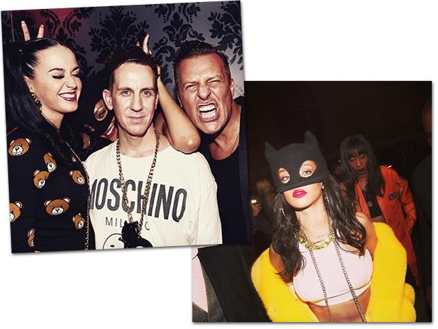 Katy Perry, Jeremy Scott e Jean Roch. Ao lado, Rihanna|| Créditos: Reprodução Instagram