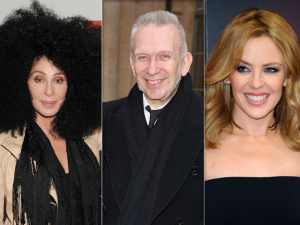 Cher, Jean Paul Gaultier e Kylie Minogue no gala amfAR no Brasil