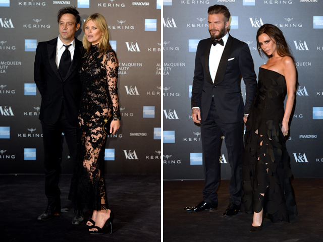 Casais badalados para ver McQuenn: Kate Moss e  Jamie Hince e Victoria e David Beckham  ||  Créditos: Getty Images
