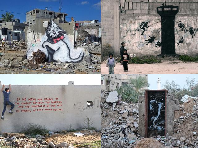 Obras de Banksy em Graza    Créditos: Reprodução