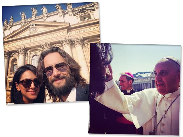 Rodrigo Santo ao lado de e ao lado do Papa Francisco || Créditos: Reprodução Instagram