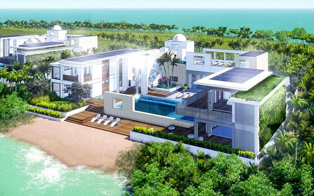 O projeto do resort de Leonardo DiCaprio    Créditos: Divulgação