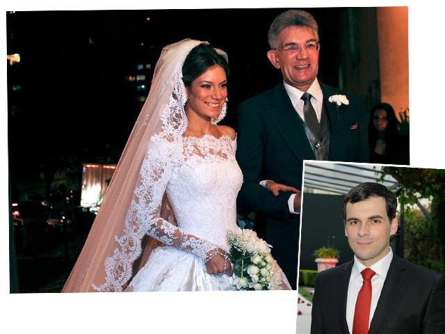 Camila Setubal com o pai, Olavo Setubal Filho, e o estilista Sandro Barros (no detalhe)     Créditos: Celia Thomé e João Sal