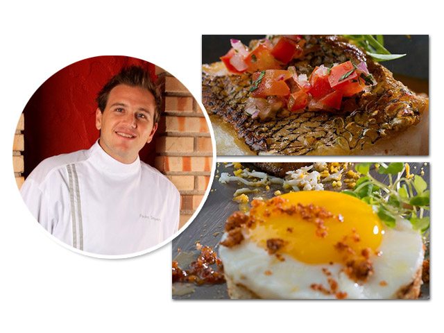 O chef Pedro Siqueira e os pratos: moquequinha, pirão de tomate, vinagrete e broto de coentro e pão com ovo à carbonara de barriga de porco || Créditos: Divulgação