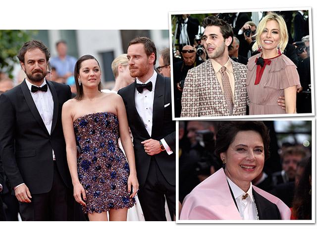 Justin Kurzel, Marion Cotillard e Michael Fassbender, Sienna Miller e Xavier Dolan e Isabella Rosselini no red carpet de Macbeth, em Cannes     Créditos: Getty Images