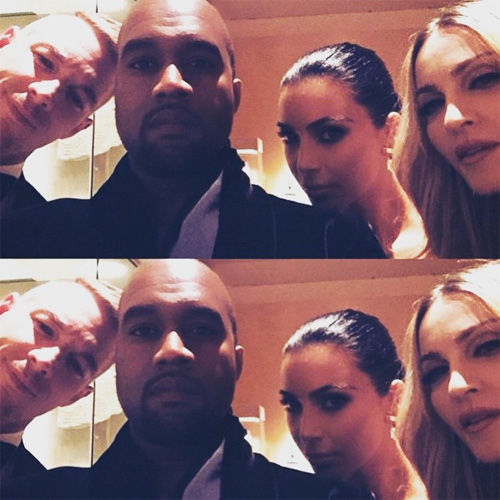 A selfie de Kanye, Kim, Madonna e Diplo || Créditos: Reprodução Instagram
