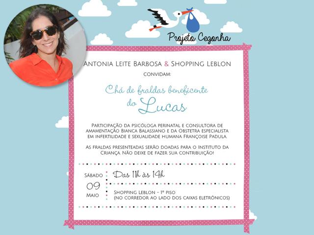Antonia Leite Barbosa convida para chá de fralda    Créditos: Divulgação