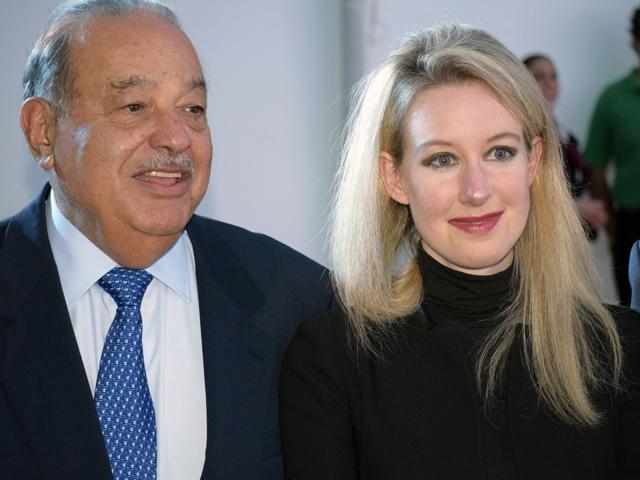 Carlos Slim Helú e Elizabeth Holmes    Créditos: Getty Images