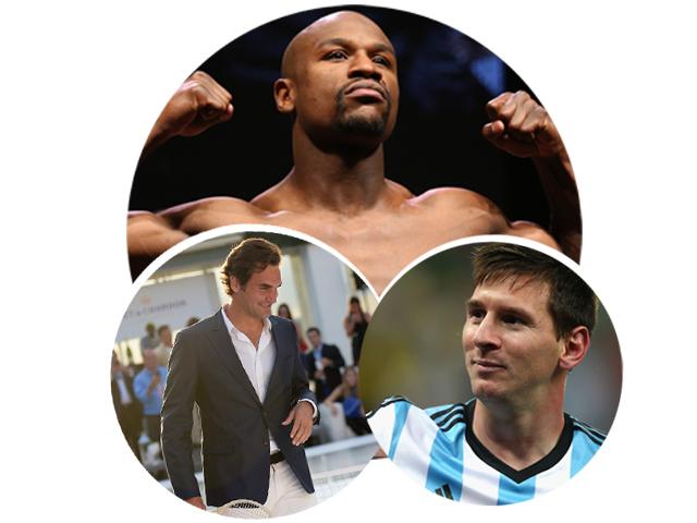 Floyd Mayweather, Roger Federer e Lionel Messi    Créditos: Getty Images