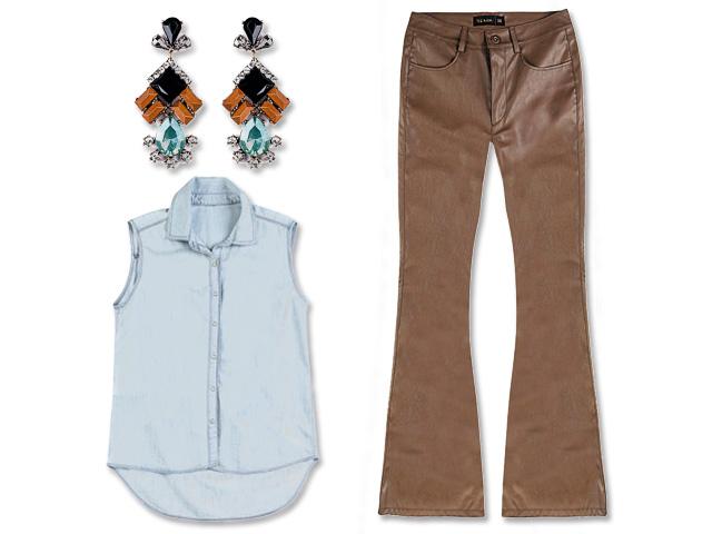 5af0ae476cb9b Comece a semana com camisa jeans e calça de couro. Vem ver! – Glamurama