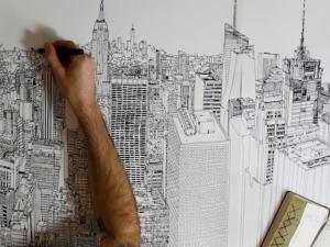 Artista cria panorama aéreo de Nova York em desenho