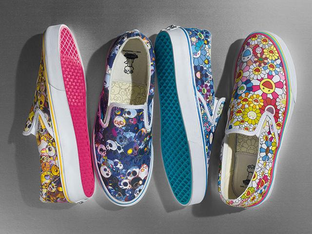 Os slip-on da Vans com desenhos de Takashi Murakami também estarão disponíveis para os glamuzinhos || Crédito: Divulgação