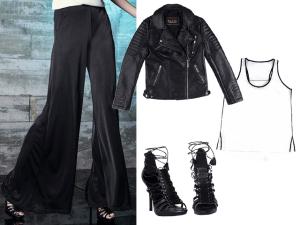 Pantalona + jaqueta de couro é a dica de hoje. Vem ver!