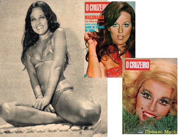 """Entre as personagens mais memoráveis de Djenane Machado estão Bebel, em """"A Grande Família"""", e Glorinha, em """"Estúpido Cupido"""". Como um furacão, ela estampava controversas capas de revistas na década de 70  Créditos: Reprodução/Revista J.P"""