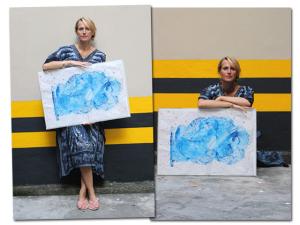 Caçula do artista plástico Luiz Aquila, além de linda, também pinta