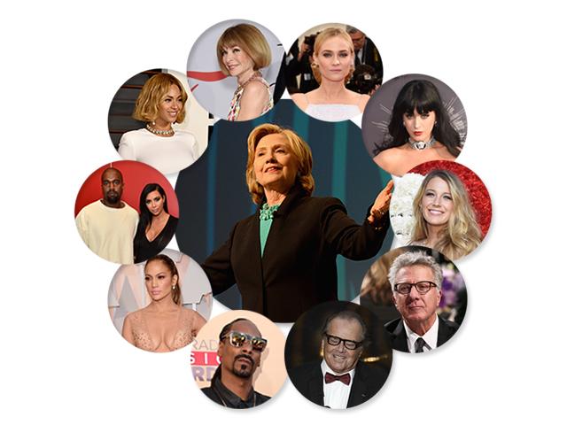 Hillary Clinton, a queridinha dos famosos nas eleições ||  Créditos: Getty Images