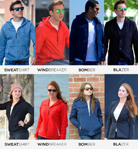Cinco diferentes modelos do casaco, para homens e mulheres    Crédito: Kickstater/ Reprodução