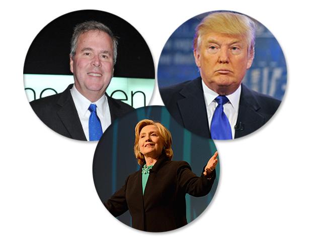 Hillary Clinton, Jeb Bush e Donald Trump disputam os votos dos famosos  ||  Créditos: Getty Images