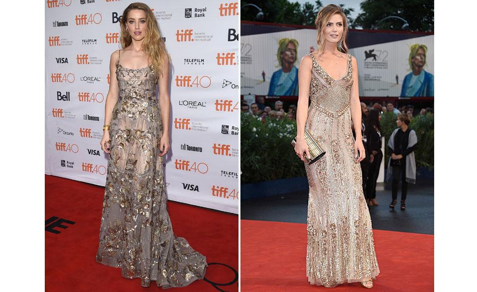 Amber Heard com modelo bordado durante o Festival Internacional de Veneza X Kim Feenstra com modelo similar durante o Festival de Cinema de Veneza