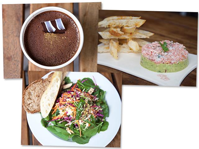 Mousse de chocolate com café; tartar de salmão e a salada asiática