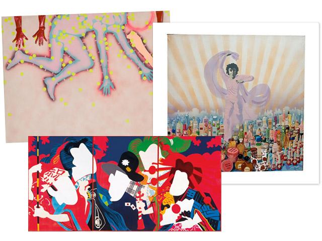 Obras de Kiki Kogelnik de 1964, Isabel Oliver de 1971 e Ushio Shinohara de 1966