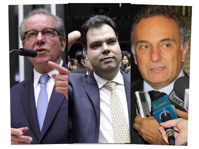 O ex-deputado José Aníbal e os deputados federais Bruno Covas e Ricardo Tripoli