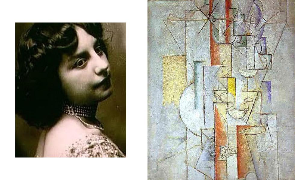 """Em 1911, Picasso começou a se envolver com Eva Gouel (nome artístico de Marcelle Humbert). Depois de uma separação abrupta de Fernande Oliver, os dois começaram a viver juntos. Porém, em 1915 Eva morreu de tuberculose, deixando Picasso devastado e fazendo com que eles escrevesse """"eu amo Eva"""" em algumas de suas pinturas na época"""