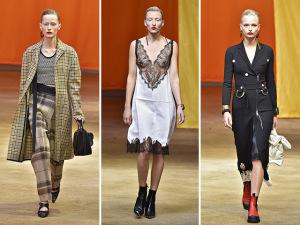 De vestidos-camisola a casacos, Céline desfila contrastes em Paris