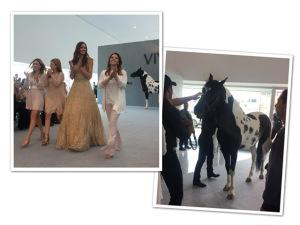 Cavalo dá pivô em desfile durante a semana de moda mineira
