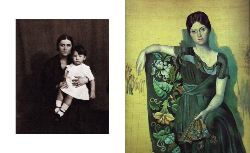 O primeiro casamento de Picasso foi com a bailarina russa Olga Khokhlova, mãe do primeiro filho do artista, Paulo, nascido em 1921. Os dois viveram juntos de 1917 a 1935. período foi turbulento. Enquanto Picasso era mais boêmio, Olga preferia o convívio da alta sociedade. Após a separação, a bailarina começou a enviar cartas de ódio ao pintor