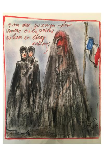Em sua ilustração, Karl Lagerfeld traça um paralelo visual entre a burca usada pelas mulheres muçulmanas e o véu negro, típico traje de luto ocidental