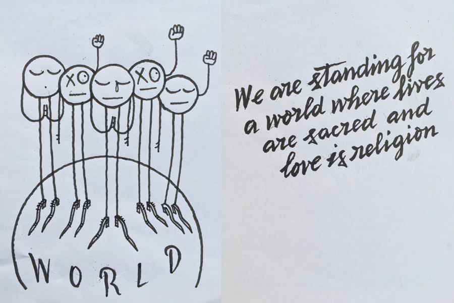 """""""Estamos de pé para um mundo onde as vidas são sagradas e o amor é religião"""" André Saraiva"""