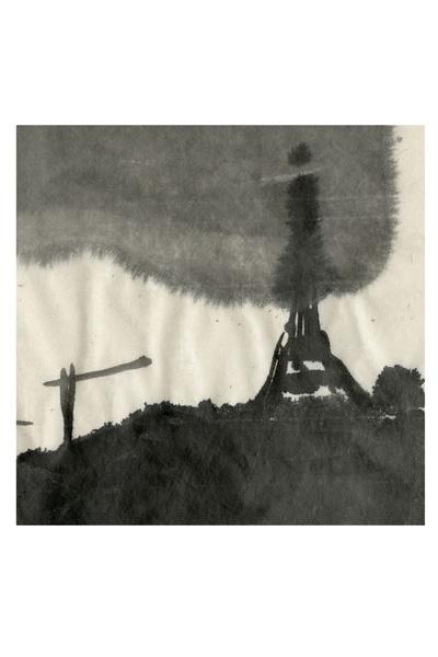 """""""Este não é um desenho feito (para refletir sobre os acontecimentos de Paris), mas é parte de uma série de aquarelas e desenhos de tinta que eu fiz da minha janela nos últimos anos, onde pude observar as mudanças de luz e as nuvens acima de Paris. Achei ontem. Nele, a Torre Eiffel está temporariamente obscurecida por uma nuvem muito escura que acreditamos que irá se dissipar."""" Jean-Philippe Delhomme"""