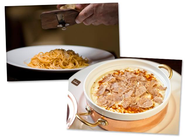 Risoto à parmegiana com trufas e a massa de cabelo de anjo com manteiga e trufas