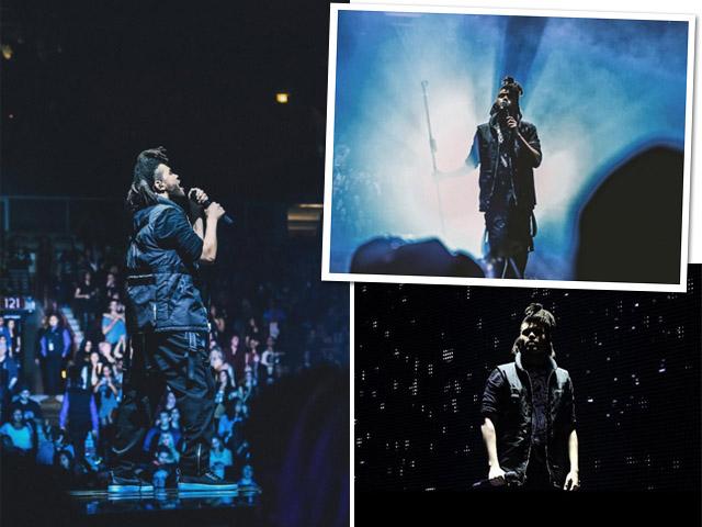 The Weeknd em sua nova turnê, vestindo peças de sua parceria com Alexander Wang