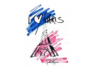 Artistas criam desenhos em homenagem a Paris