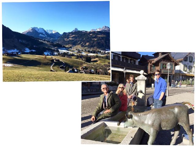 Cacá de Souza ao lados dos filhos Sean e Anthony de Souza e da amiga Charlene Shorto em Gstaad sem neve