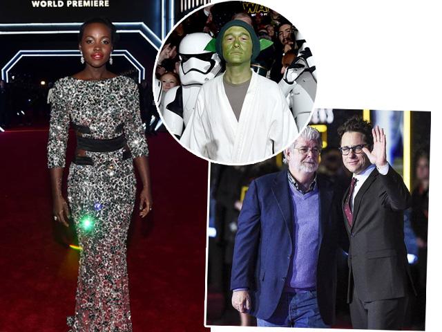 Lupita Nyong'o, Joseph Gordon-Levitt e George Lucas ao lado de J.J. Abrams