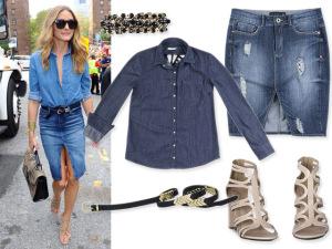 Dobradinha jeans para a quarta-feira à la Olivia Palermo. Vem ver!