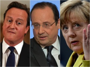 Jantar teve treta entre Merkel, David Cameron e François Hollande