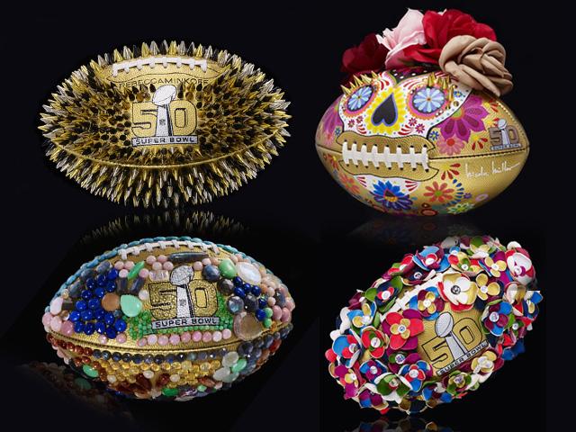 As bolas do Super Bowl customizadas por alguns estilistas e fashionistas
