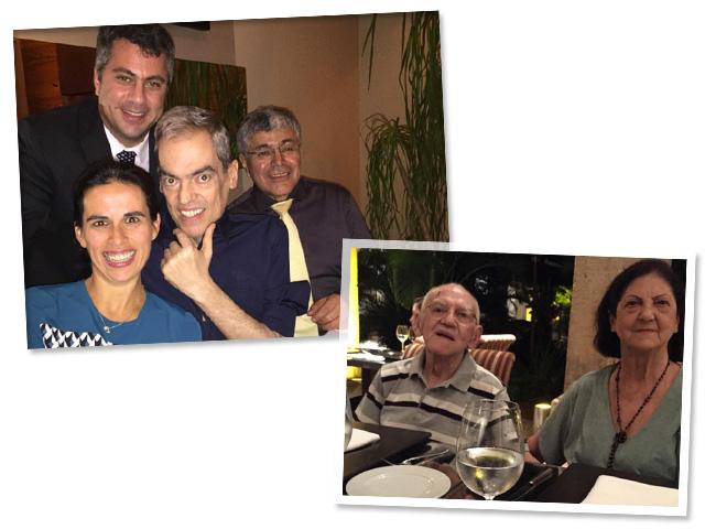 Biaggi com seus médicos Viviane, Phillip e Salomón. O cabeleireiro também dividiu a alegria com os pais Aparecido e Alzira