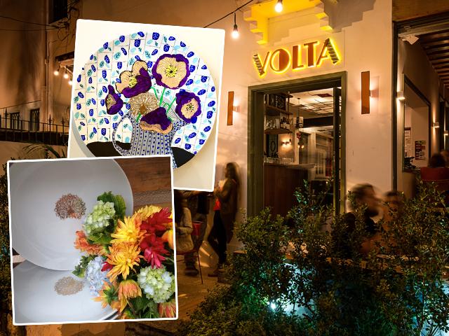 Os pratos pintados por Katia Wille e Fabiana Pomposelli e a fachado do restaurante Volta