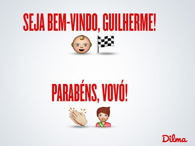 """Foto postada no Facebook oficial da presidente Dilma Rousseff: """"AVÓ CORUJA. Nasceu hoje (7), em Porto Alegre, o segundo neto da presidenta Dilma, Guilherme. Parabéns aos pais Paula e Rafael!"""""""